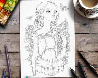 Printable Adult Coloring Page | Line-art Lady with Flowers and Moths | Zan Von Zed