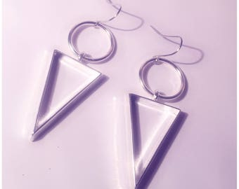 Silver hoop and triangle dangle earrings!
