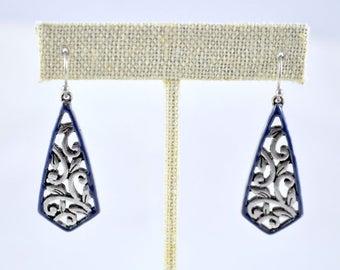 Silver and blue earrings, enamel earrings