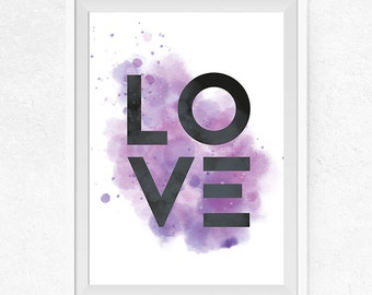 Modern Love Printable, Watercolor Purple and Pink Print, Love Wall Art, Love Print, Home Decor, Gallery Wall Decor - #0127