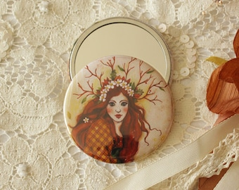 Pocket mirror - Handbag mirror - Illustrated mirror - Forest Girl
