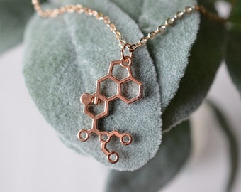 Biolojewelry - LSD Molecule Necklace Rose Gold Tone