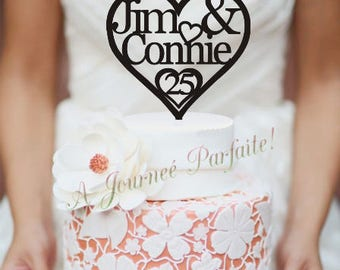 Anniversary Cake Topper or Wedding Cake Topper with Names and number of Years Cake Topper [AJP2]