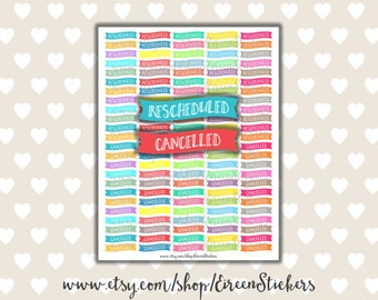 Printable Planner Stickers, Rescheduled Cancelled Banners, Erin Condren Printable Stickers, Mambi Happy Planner, PDF Instant Download, #0000
