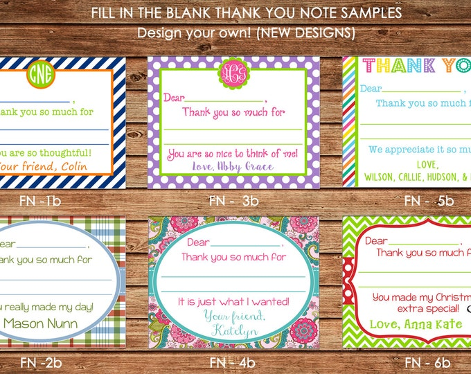 NEW Designs - Personalized Fill In The Blank Thank You Note Cards with Envelopes - Design your own - ONE DESIGN