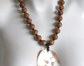 Beaded Necklace, Palm Wood, Mother-Of-Pearl Pendant, .925 Sterling Silver