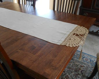Linen and Hand Crocheted Dresser Scarf Table Runner