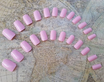 20 Pink Nails - Short Press on Nails - Glue on Nails - Pink Nails - Short Pink Nails, Fake nails, Short nails, Costume nails