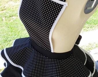 Women's Apron w/ Ruffles Retro Vintage Inspired polka dot Sizes XS to 5XL