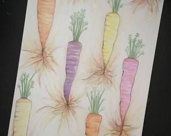 Rainbow Carrot Drawing - Original Artwork