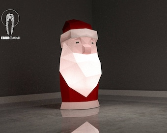 Low Poly XXL DIY Santa Claus Papercraft, Create Your Own 3D Paper Craft Christmas Gift DIY Mask Low Poly, Lamp Origami Santa Claus, Eburgami