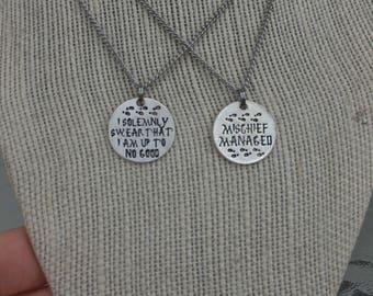 Marauders Map couple/best friend necklace set