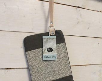 Wristlet, Small Purse // Grey with Pattern, Colour Block, Zipper Close, Leather Strap // Handmade in Canada