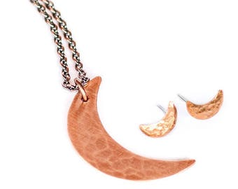 Copper Crescent Moon Set - Moon Necklace & Earrings, Minimal Jewelry, Delicate, Dainty, Moon Phase, Jewelry Set
