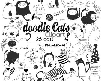 Doodle Cats Hand Drawn Outline clipart, 25 Cats Characters, PNG, EPS, AI, vector illustrations, Craft supplies, Coloring, Digital stamps