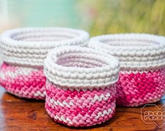 Crocheted Nesting Folded Baskets - Set of 3