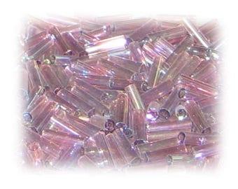 7 x 2mm Plum Luster Bugle Bead, 1 oz. bag