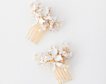 Haare kämmen, Hochzeitshaarkamm, Crystal Haare kämmen, floralen Kopfschmuck Perlen Kopfschmuck, Gold Braut Kamm, Haarkamm - Stil 421