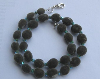 Hawaiian mgambo seed and turquoise 2AB Swarovski crystal necklace