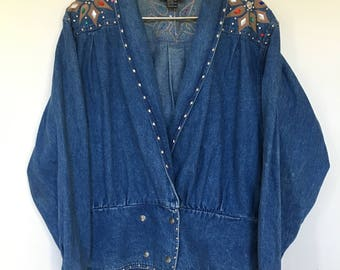 Vintage Suzelle Double Breasted Jean Jacket / Studded / Rhinestones / Rainbow / Multicolor / Denim Jacket / Bomber Jacket /1980
