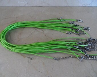 set of 20 necklaces green waxed cotton cord 1.5 mm