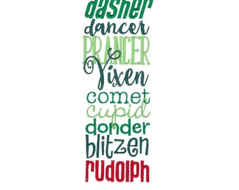 Christmas Sentiments Eight Design 10 Filled Stitch Machine Embroidery Design 4x4 5x7 6x10