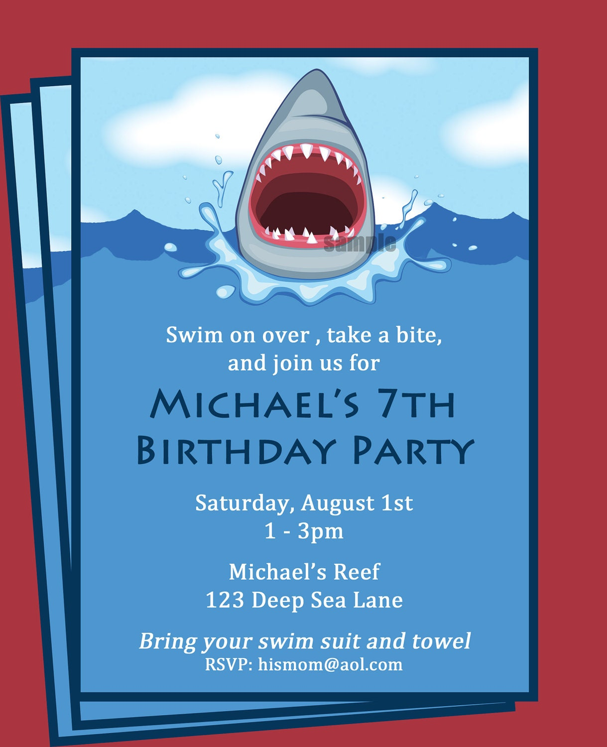 Shark invitation printable printable or printed with free zoom filmwisefo Images