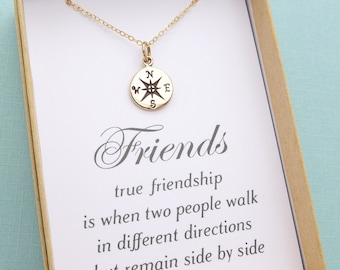 Best Friend Necklace, Compass Necklace, Best Friend Gift, Friendship Necklace, BFF Gift, Sister Gift, Sisters Necklace, Personalized Gift