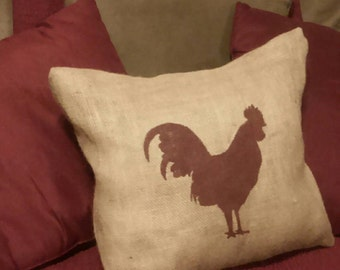 Rooster Pillow, Burlap Rooster Pillow, Rooster Silhouette Pillow, Rooster, Farm Pillow, Country Primitive, Burlap Pillow, Chicken Pillow