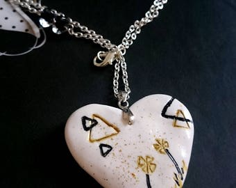 Flowers and triangles design handmade Fimo Heart Necklace