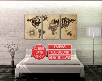 Metal world map etsy world map word cloud giclee print canvas print metal wall art contemporary wall art triptych canvas gumiabroncs Images