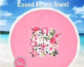 CLEARANCE -Pink Summer monogrammed beach towel , Round beach towel , personalized Round Summer Towel , Circle Beach Towel, bridesmaid gift