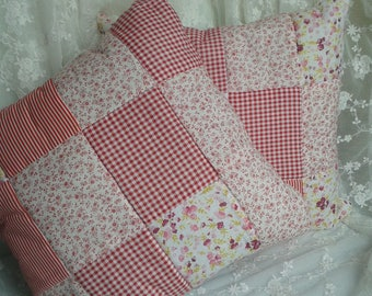 rose red cushion patchwork squares and flowers