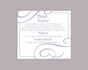 DIY Wedding Details Card Template Download Printable Wedding Details Card Editable Purple Lavender Details Card Elegant Enclosure Card Party