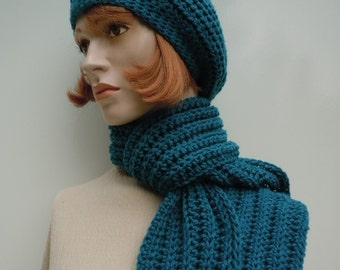 Teal Hat and Scarf Set - Blue Green Hat and Scarf Set - Women Teal Slouchy and Scarf - Crochet Hat and Scarf