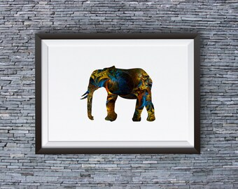 Elephant Art Print - Colorful Poster - Animal Illustration - Wall Art - Home Decor
