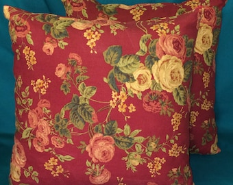 Red Flowered Pillows - No Lace