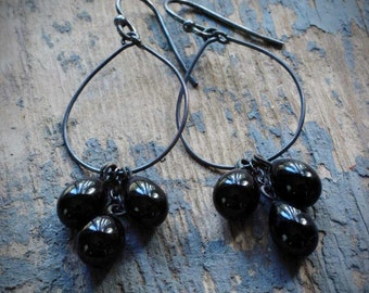 vintage black cluster hoop earrings. japanese glass drops on oxidized sterling silver by val b.