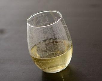 Washington DC Maps Stemless Wine Glass
