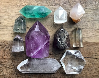 Set of lovely crystals: self-standing tower, double terminated crystal, hexagon crystal. Fluorite, Quartz, Amethyst, Garden Quartz, Lodolite