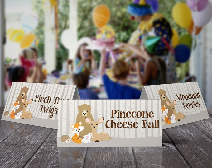 Woodland Food Labels - Birthday Part7,Buffet Tag,Table Tent,Woodland Animals,Forest Friends | EDITABLE Text - INSTANT Download Printable PDF