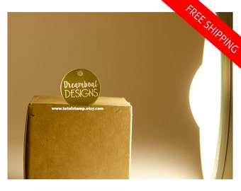 Branding Tags - 100 Pcs - Acrylic Laser Engraved - Clear and Gold -