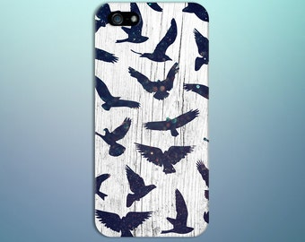 Night Sky Bokeh Birds x White Wood Design Case for iPhone 8 6 Plus iPhone X  Samsung Galaxy s9 edge s6 and Note 8  S8 Plus Phone Case