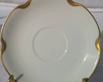 Haviland & Co, Limoges saucer, white and gold, marked