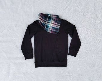 Plaid Cowl Sweater Scarf Neck Sweatshirt Toddler Sweater Baby Sweater Hoodie Pullover Teal Magenta Black Winter Clothes Trendy Biker Sweater