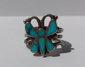VINTAGE ZUNI INDIAN silver inlaid turquoise butterfly ring