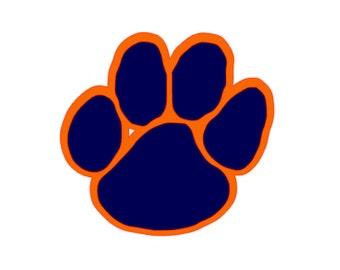 clemson paw decal etsy rh etsy com Auburn Tigers Football Logo LSU Tigers Logo