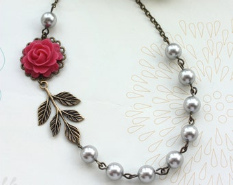 Wedding Jewelry Bridesmaid Necklace. A Sweet Pink Rose Flower, Oxidized Branch Leaf , Silver Grey Pearls Necklace..  Maid of Honor Gifts.