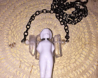Antique Victorian Porcelain Frozen Charlotte Doll and Quartz Crystal Angel Necklace #3
