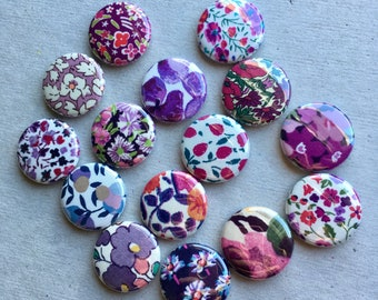 One Inch Magnets - Liberty of London Fabrics - Assortment of 15 - Purples